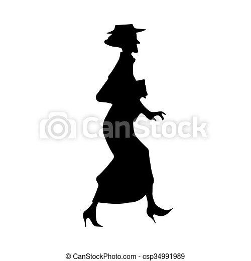 Ältere Lady Silhouette - csp34991989