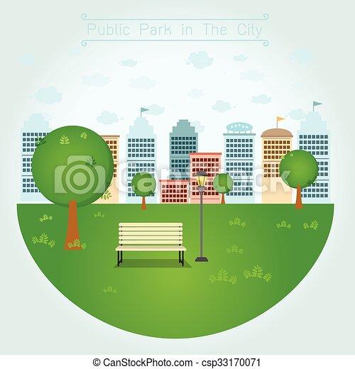 Öffentlicher Park in der Stadt. - csp33170071