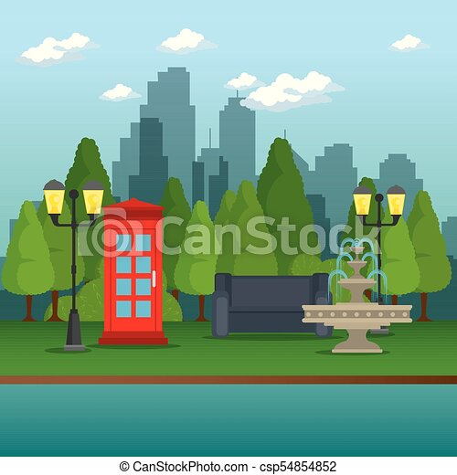 Öffentlicher Park in der Stadt. - csp54854852
