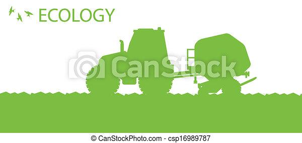 Ökologischer Hintergrund, ökologisches Vektorkonzept mit Traktor und Saatgut, das auf einem Feld für ein Poster anbaut - csp16989787