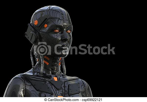 -, hintergrund, roboter, 3d, weibliche , technologie, übertragung, frau, cyborg, android, -realistic, humanoid - csp69922121