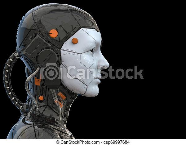 Roboter-Androide Cyborg weiblich humanoid - Technologie Hintergrund - Realistische 3D Rendering - csp69997684