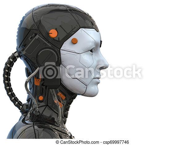 Roboter-Androide Cyborg weiblich humanoid - Technologie Hintergrund - Realistische 3D Rendering - csp69997746