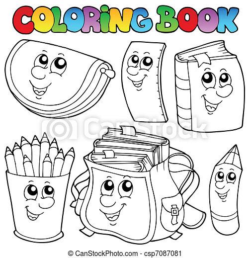 1, schule, farbton- buch, karikaturen - csp7087081