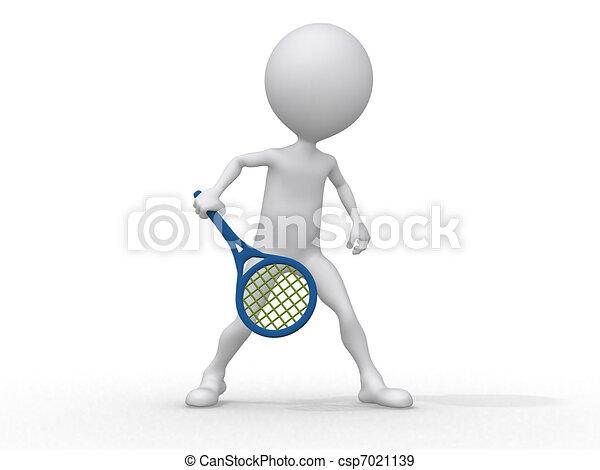 3d abstrakte Menschen spielen Tennis. - csp7021139