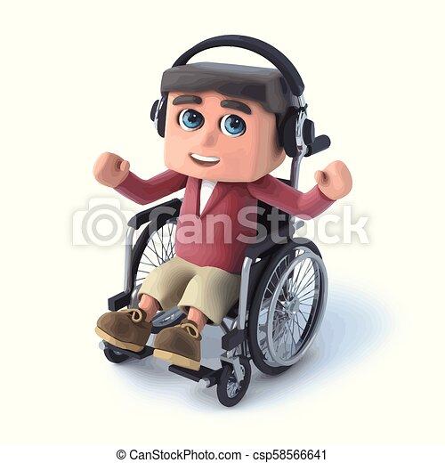 3d Boy im Rollstuhl hört auf seine Kopfhörer. - csp58566641