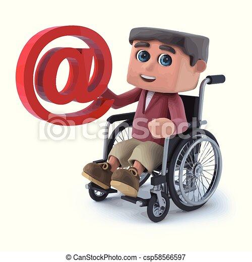 3d Boy im Rollstuhl hat eine E-Mail-Adresse. - csp58566597