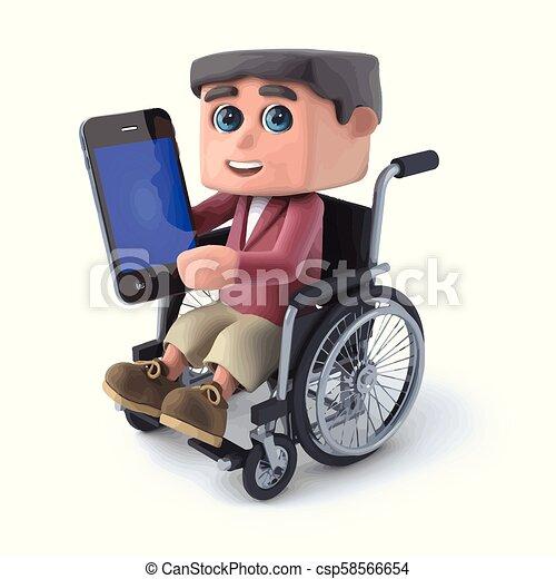 3d Boy im Rollstuhl mit einem Smartphone. - csp58566654