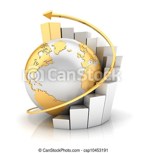 3D Geschäfts Erde mit Barkarten - csp10453191