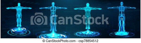 3d, hud, hologramm, überfliegen, röntgenaufnahme, stil, zukunftsidee, koerper - csp78854512