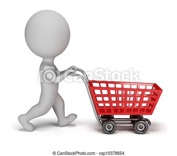 3d kleine Leute - Einkaufswagen - csp10378654