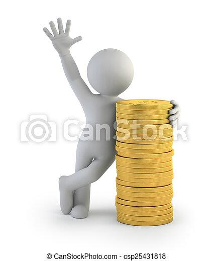 3d kleine Leute - Goldmünzen. - csp25431818
