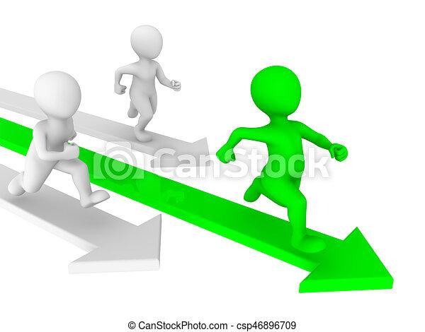 3d kleine Leute laufen. Wettbewerbskonzept. - csp46896709