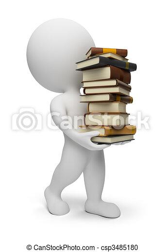 3d kleine Leute mit Büchern - csp3485180