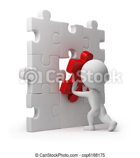 3d kleine Leute - Puzzleeinfügung - csp6188175