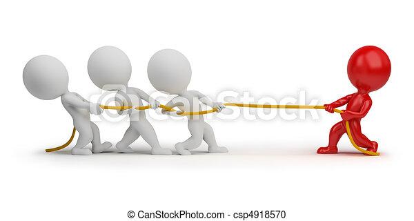 3d kleine Leute - Seil ziehen - csp4918570