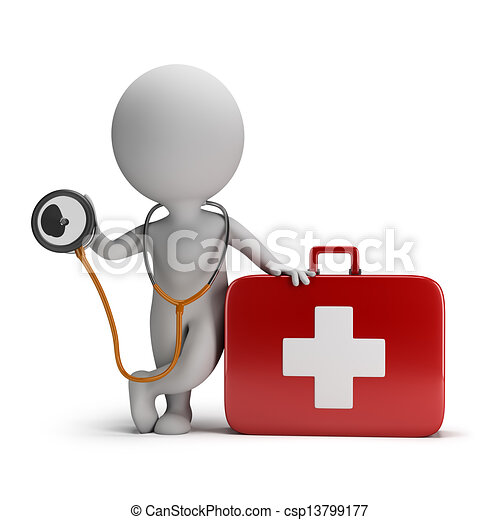 3d kleine Leute - Stethoskop und medizinische Ausrüstung - csp13799177