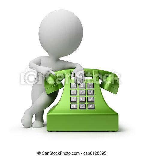 3d kleine Leute - telefonieren - csp6128395