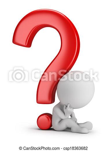 3d kleine Menschen - über die Frage nachzudenken - csp18363682