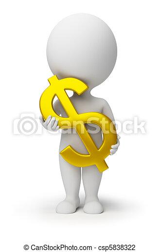 3d kleine Menschen - ein Dollar-Symbol in den Händen - csp5838322