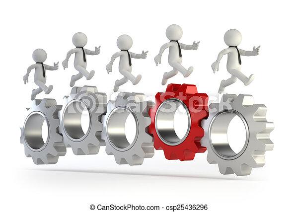 3d kleine Menschen - laufen auf angeschlossenen Getrieben. - csp25436296