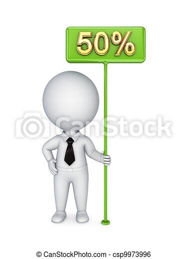 3d kleine Person mit einem grünen Bungner 50 %. - csp9973996