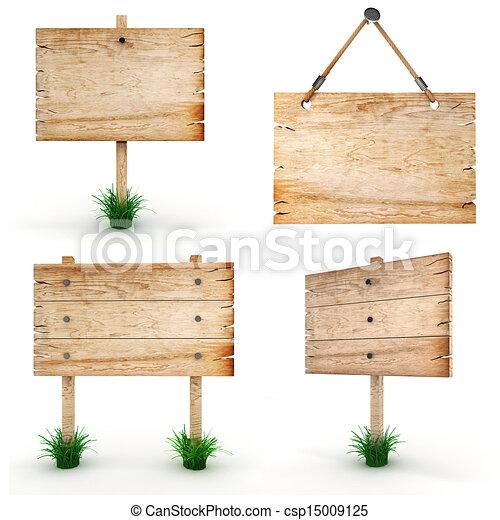 3d leeres Holzzeichen - Packung - csp15009125