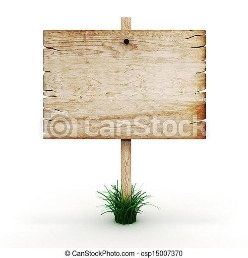 3d leeres Holzzeichen - csp15007370