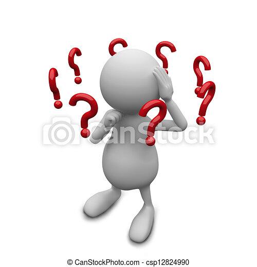 3D-Leute mit Fragezeichen. - csp12824990