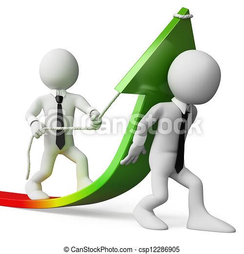 3D Weiße Geschäftsleute. Verkauft Wachstum - csp12286905