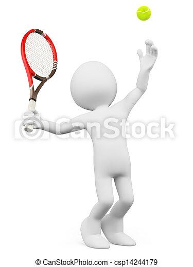 3D Weiße. Tennisspieler servieren - csp14244179