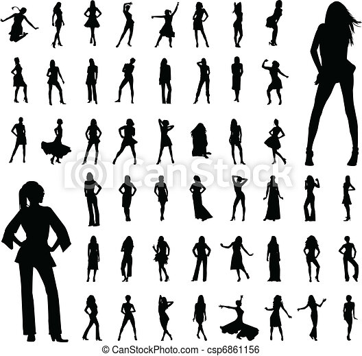 50 Frauen Silhouette - csp6861156
