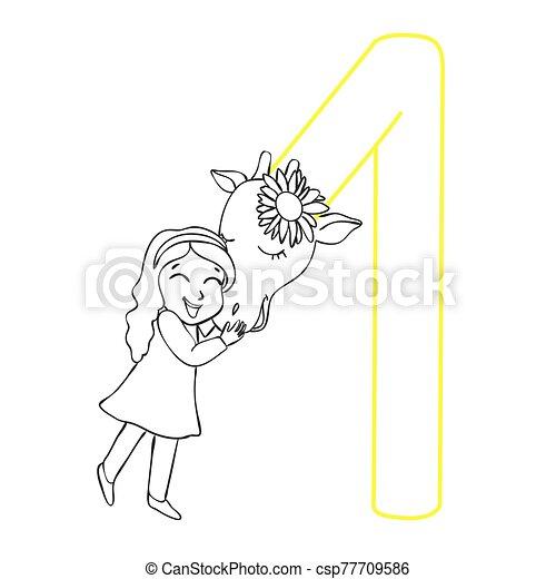 abbildung, children., m�dchen, erwachsene, giraffe., buch, färbung, hand-drawn., vektor, umarmen - csp77709586