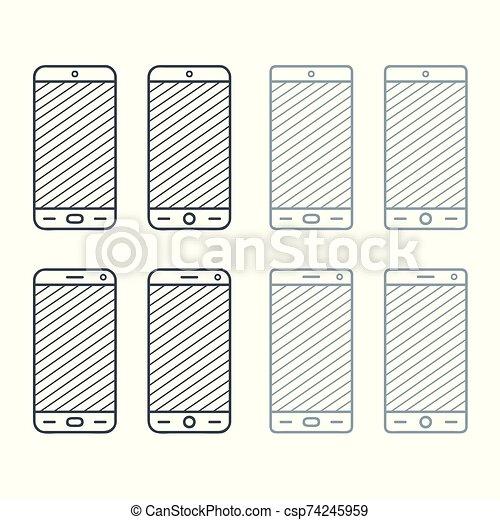 abbildung, smartphone, satz - csp74245959