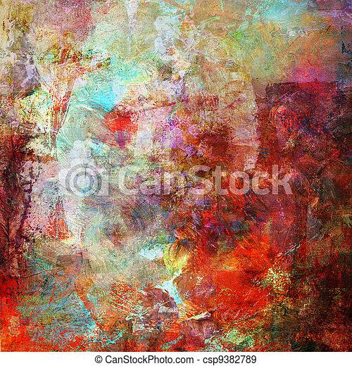Abstract Malerei im gemischten Medienstil. - csp9382789