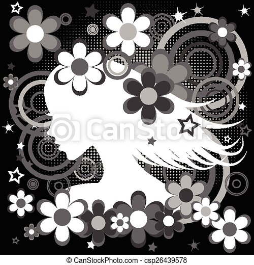 Abstract Schwarz-Weiß Backgrund mit Frauenprofil, Blumen und Kreisen. - csp26439578