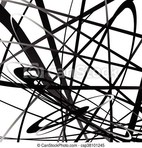 Abstrakte, wacklige, kurvige Linien. Monochrome geometrische Muster. - csp38101245