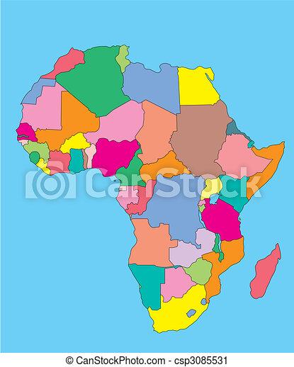 Afrika mit redaktionellen Ländern - csp3085531