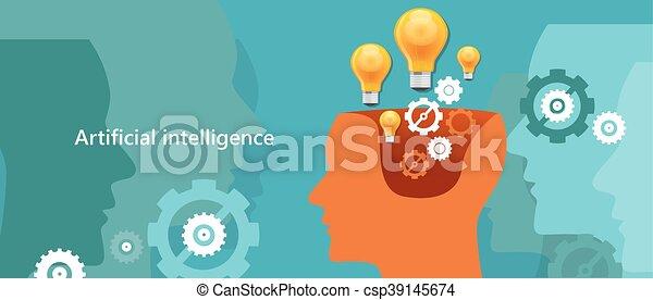 AI künstliche Intelligenz Computertechnologie, um menschliches Roboterhirn zu schaffen. - csp39145674