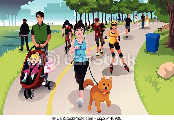 Aktive Leute in einem Park. - csp25148900