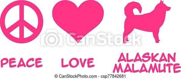 alaskisch malamute, liebe, frieden - csp77842681