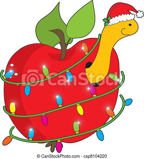 weihnachtsapfelwurm ein süßer lächelnder apfelwurm mit