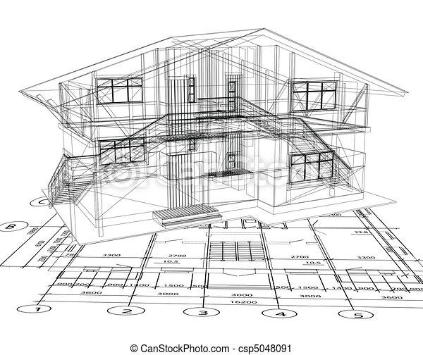 Architekturpläne eines Hauses. Vector - csp5048091