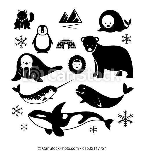 Arktische Tiere Silhouette Set. - csp32117724