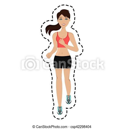 Athlet mit isolierter Ikone. - csp42298404