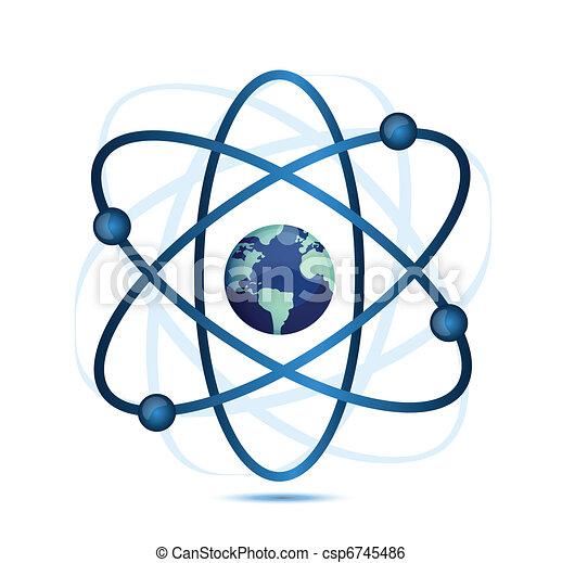 Atomsymbol mit einem Globus - csp6745486