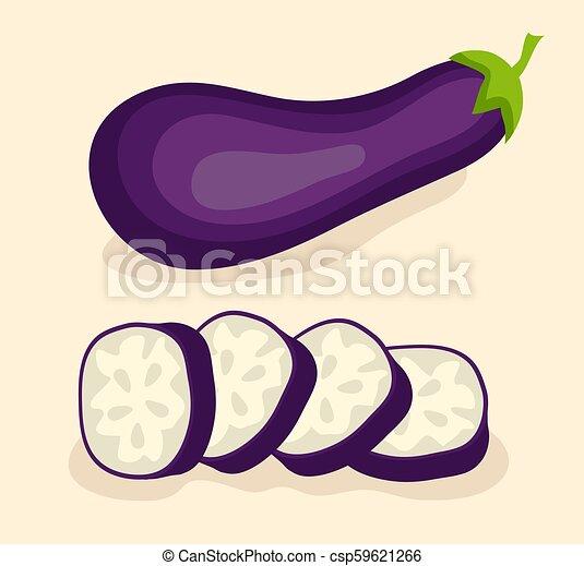 Aubergine, Gemüse isoliert. Vector Illustration: 10 - csp59621266