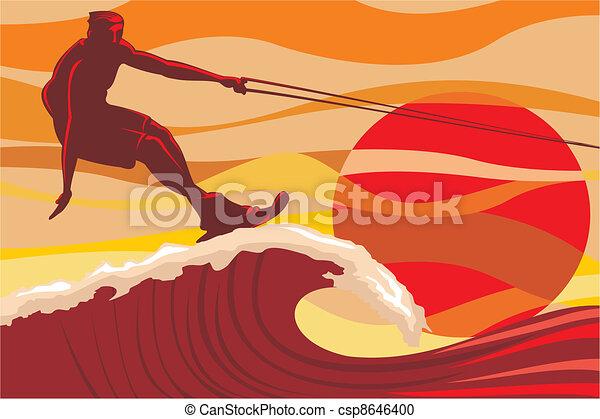 Auf der Welle - Wasserski - csp8646400