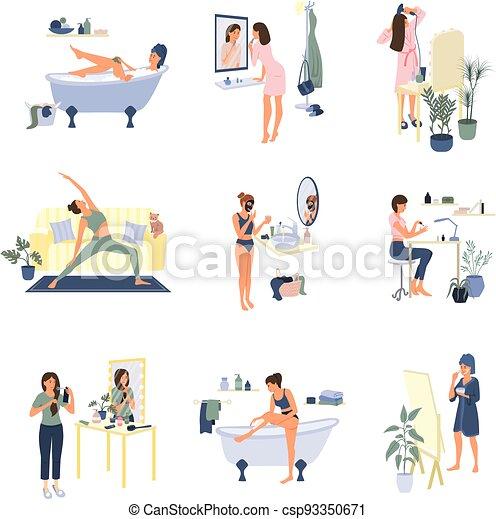 aufenthalt, routine, schoenheit, daheim, wohnung - csp93350671