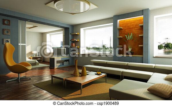 aufenthaltsraum, inneneinrichtung, modernes zimmer - csp1900489